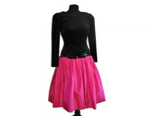 S/S17 Fashion Trend inpired 1980's Pink and Black Dress with Shoulder Pads